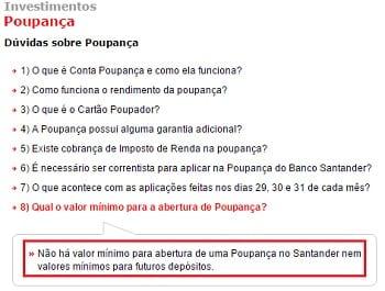 Aplicação mínima na Poupança do Santander