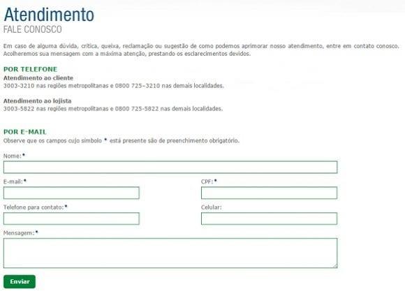 Formulário de atendimento ao cliente do Cartão AVISTA.