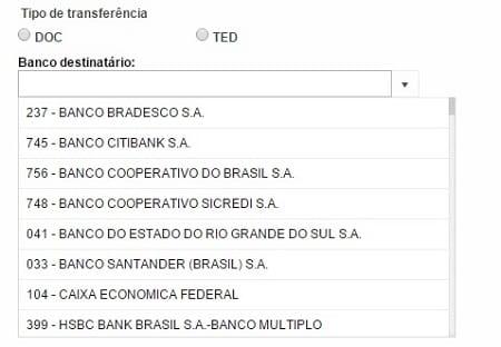 Na relação do Banco do Brasil, aparece no Compe e o número do banco.