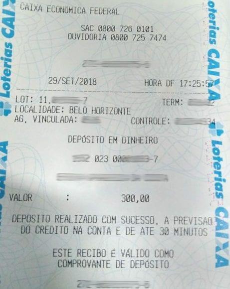 comprovante deposito loterica sabado
