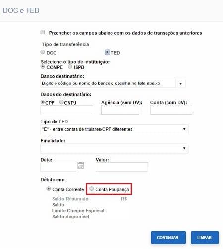 TED com o saldo da poupança no Banco do Brasil