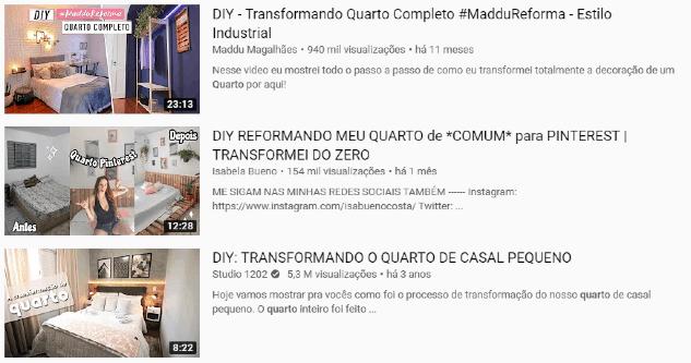Imagem do print do YouTube com exemplos de DIY de reforma