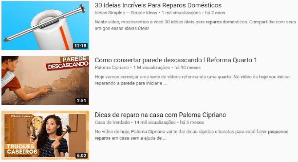 Imagem do print do YouTube com dicas de DIY para pequenos reparos
