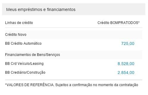 Essas informações estão disponíveis na página inicial do Internet Banking BB
