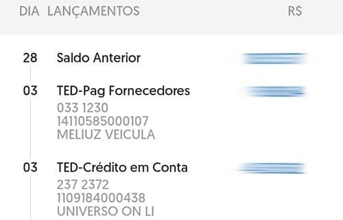 extrato banco brasil ted doc remetente