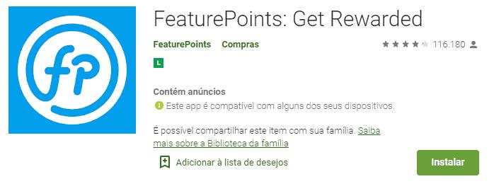 imagem do aplicativo feature points na play store