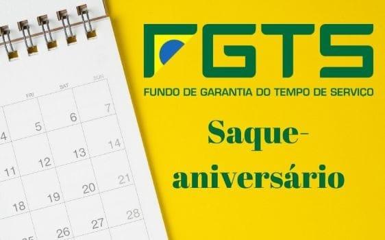 imagem mostrando um calendário e a logomarca do FGTS, para representar o saque-aniversário