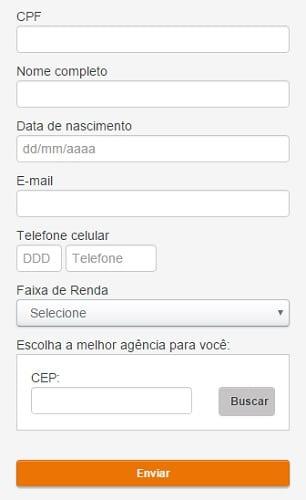 O formulário deve ser corretamente preenchido para que o banco entre em contato.