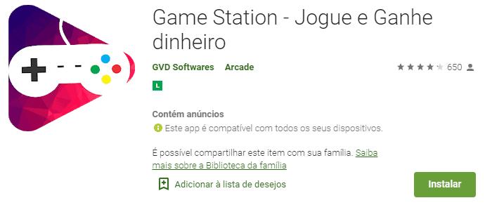 imagem da classificação do GameStation na play store