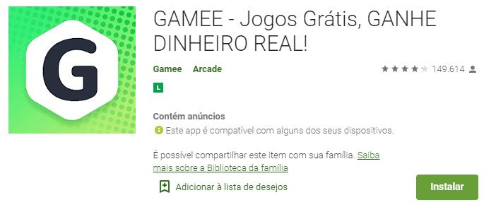 imagem da classificação do Gamee na play store