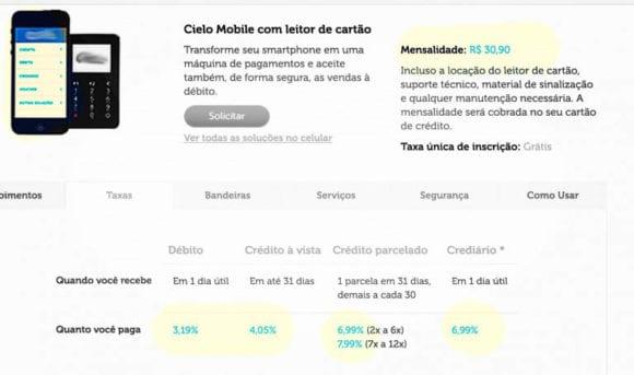 Mensalidades e preços da * Mobile com leitor de cartão