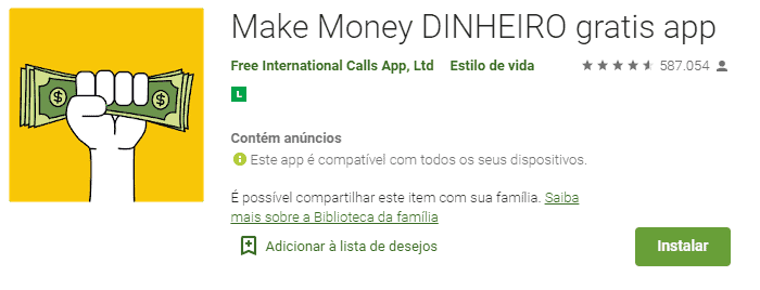 imagem do aplicativo make money na play store