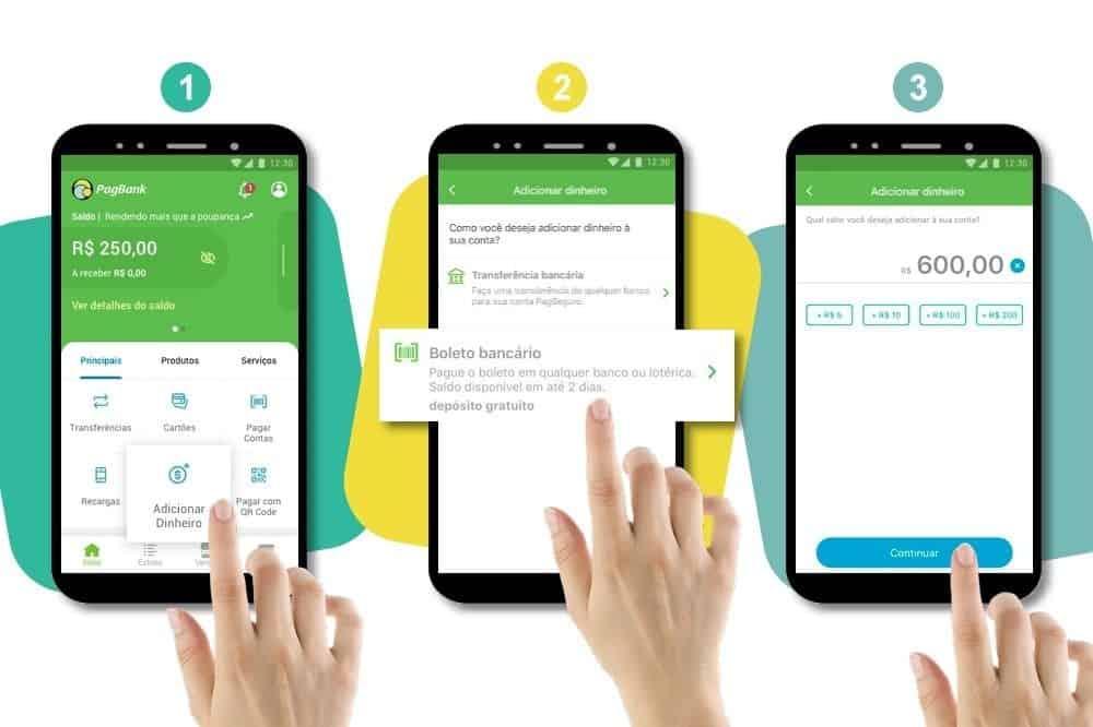 imagem que mostra como gerar um boleto no aplicativo pagbank
