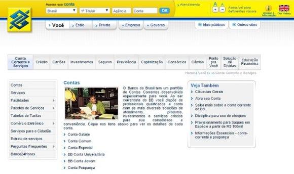 Opções de conta do Banco do Brasil