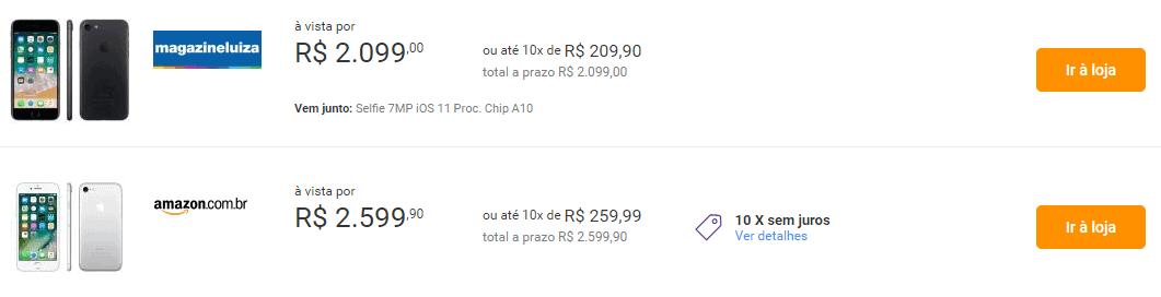 Captura de tela do site Zoom, que faz a comparação de preços