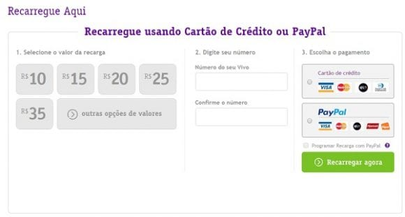 Recarrregar Celular com Cartão de Crédito: VIVO, OI, Claro e Tim