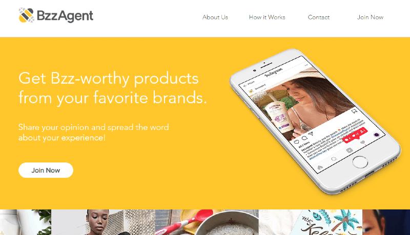 Print do site de teste de produtos BzzAgent