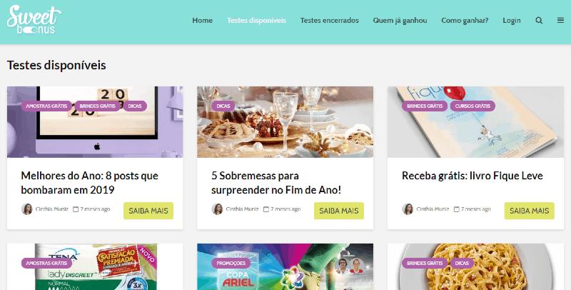 Imagem do site de teste de produtos SweetBonus
