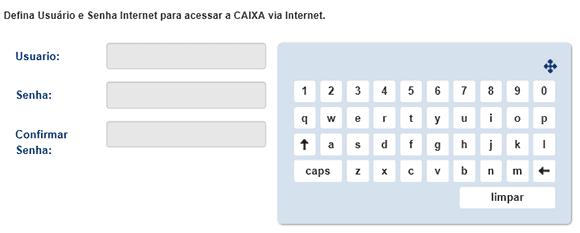 Usuário e Senha CAIXA