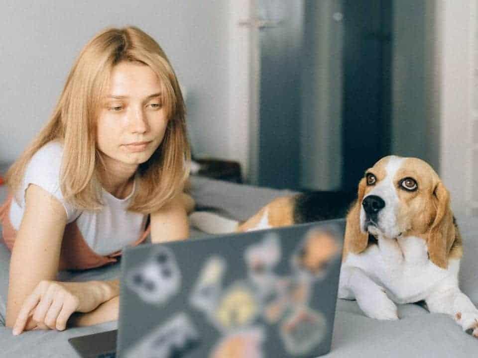 Imagem de uma jovem com seu cachorro, representando o evento da Semana Pet, que oferece descontos para os donos de animais