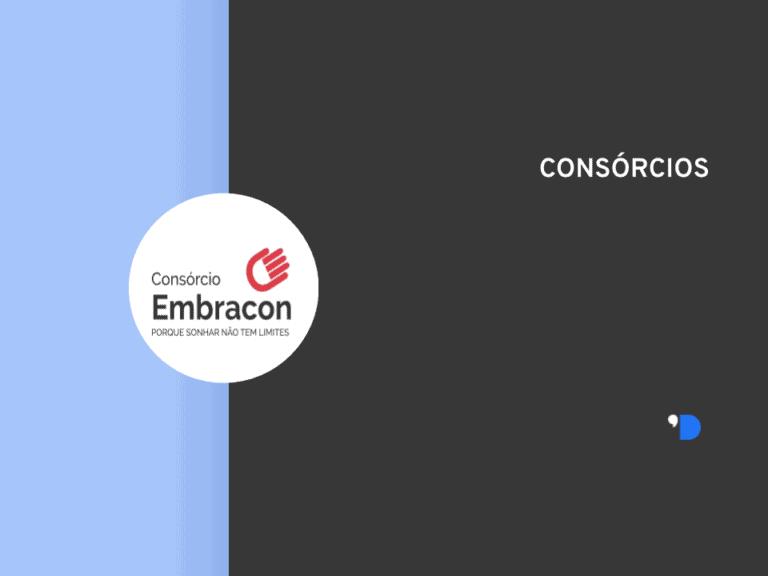 Imagem da logomarca do Consórcio Embracon, posicionada do lado esquerdo da imagem, do outro lado tem um letreiro escrito Consórcios.