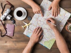 Imagem de um mapa, representando a calculadora de férias