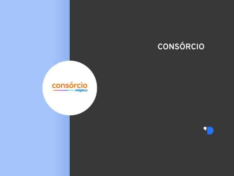 Imagem da logomarca do Consórcio Magalu, posicionada do lado esquerdo da imagem, do outro lado tem um letreiro escrito Consórcios.