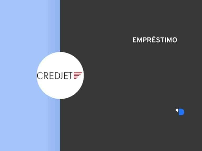 template com o logo da Credjet em um círculo branco no meio da lateral esquerda e escrito