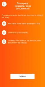 tela de dicas para fotografar documento de identificação para acesso ao home broker banco inter