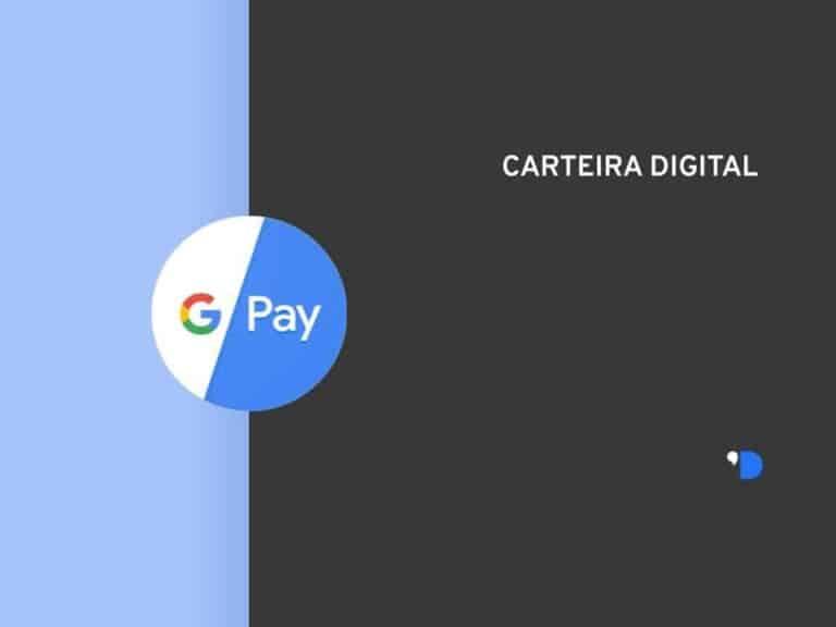 Imagem da logomarca do Google Pay, posicionada do lado esquerdo da imagem, do outro lado tem um letreiro escrito