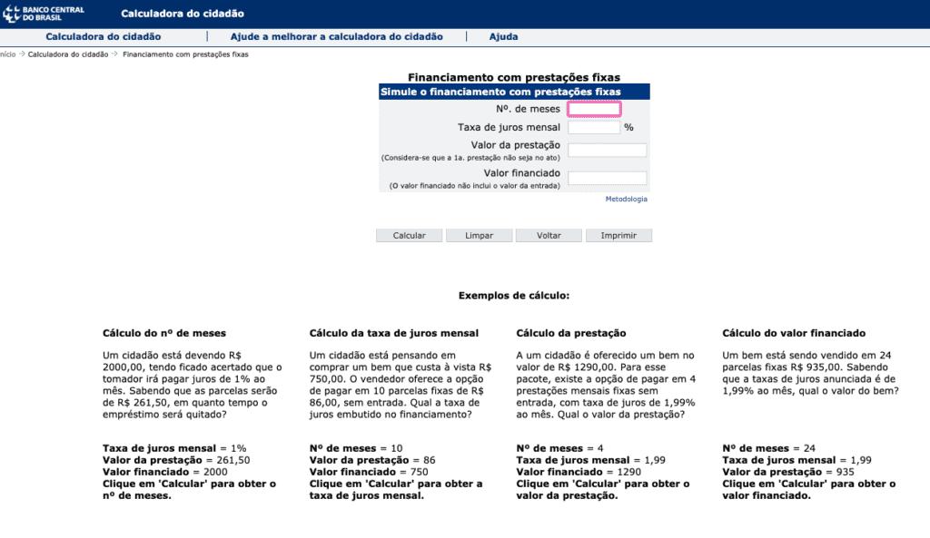 Tela da calculadora do cidadão do Banco Central do Brasil
