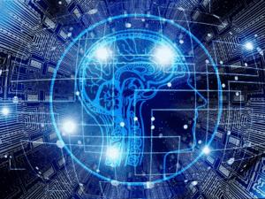 imagem de perfil de cabeça humana com luzes de led, representando lgpd