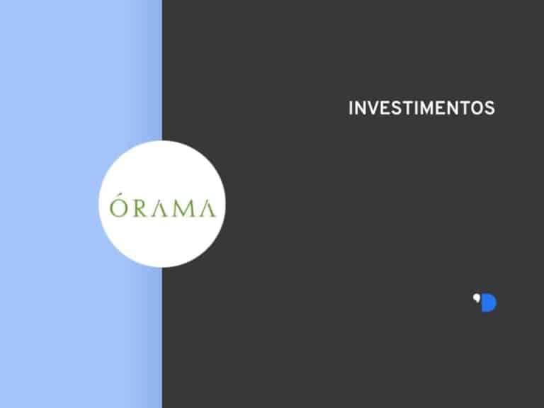 Imagem da logomarca da Órama Investimentos, posicionada do lado esquerdo da imagem, do outro lado tem um letreiro escrito Investimentos.