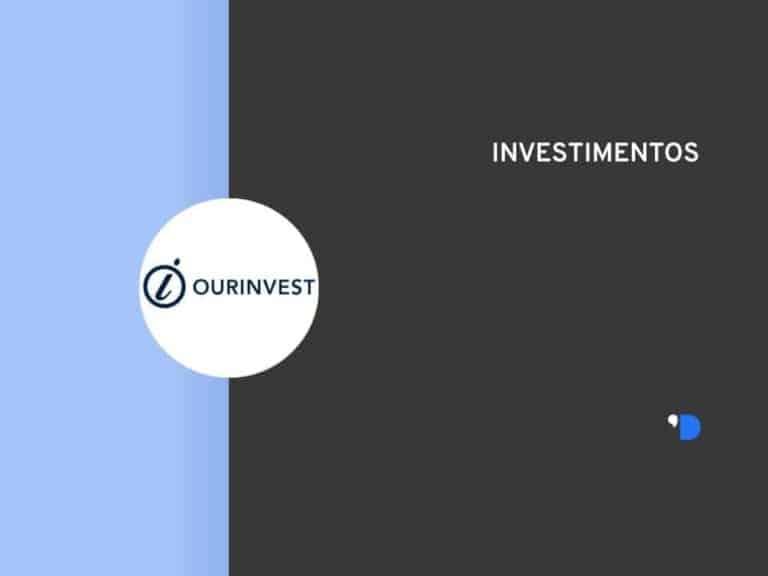 layout com o logo da Ourinvest no meio da lateral esquerda e escrito investimentos na lateral superior direita