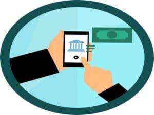 ilustração de mãos com celular, representando remessa de dinheiro exterior