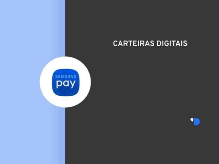 Imagem da logomarca do Samsung Pay, posicionada do lado esquerdo da imagem, do outro lado tem um letreiro escrito Carteiras Digitais.