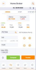 tela do home broker inter com detalhes da ação PETR4