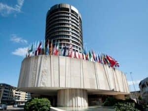 """prédio do Banco de Compensações Internacionais (BIS) representando """"Banco central mundial"""" pretende lançar moeda digital própria"""