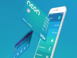 celular e cartão neon, representando conta digital para meis