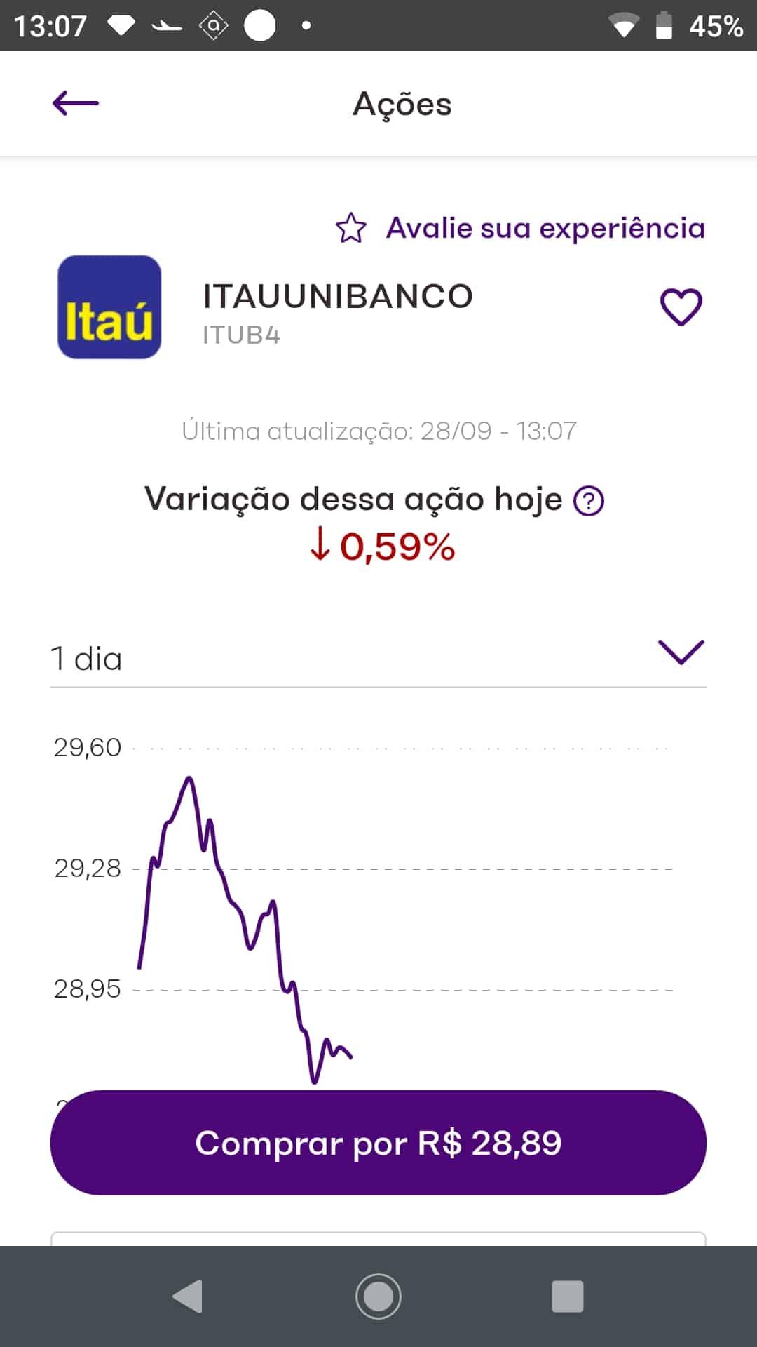 Home broker no aplicativo da nu invest