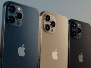 Três cores do iPhone 12, representando novo iPhone sem carregador