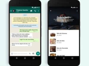 telas do WhatsApp Business representando botão de compra no WhatsApp