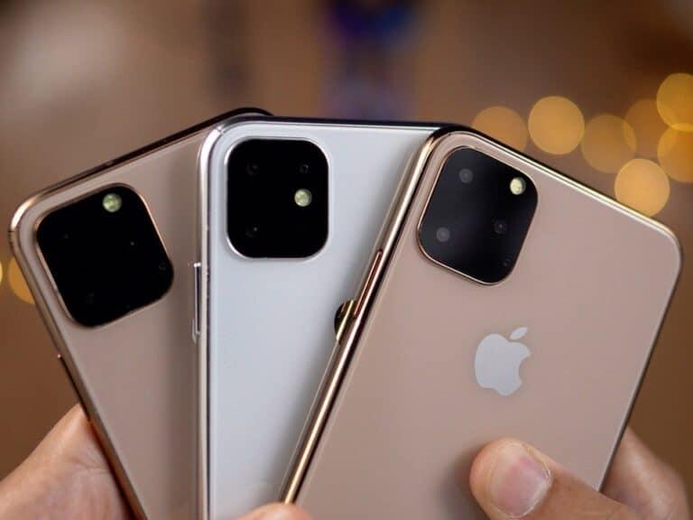 Três cores do iPhone 12, representando preço do iphone 12