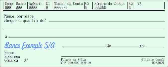 cheque nominal - preenchimento