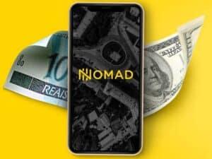 celular com logo da nomad, Conta digital em dólar para brasileiros