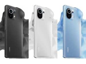Xiaomi Mi 11 em três cores (preto, branco e azul) representando Novo smartphone da Xiaomi
