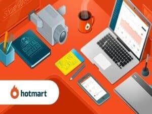 Imagem com diversos objetos eletrônicos usados por quem deseja ganhar dinheiro com o Hotmart
