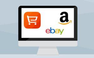 símbolos de Amazon, eBay e outra empresa de dropshipping