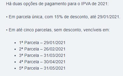 Calendário para parcelamento do Imposto sobre a Propriedade de Veículos no Mato Grosso do Sul