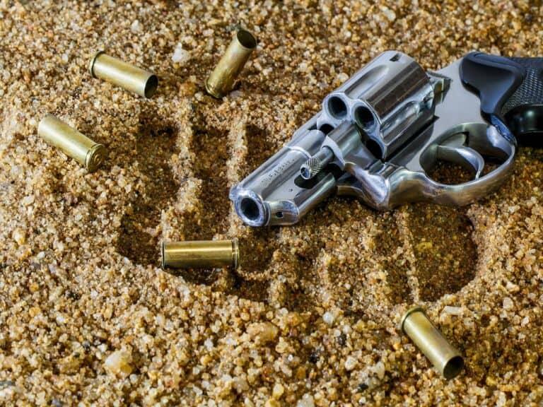 revólver e balas de revólver representando imposto de importação para revólver e pistola